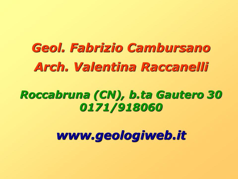 Geol. Fabrizio Cambursano Arch. Valentina Raccanelli Roccabruna (CN), b.ta Gautero 30 0171/918060www.geologiweb.it