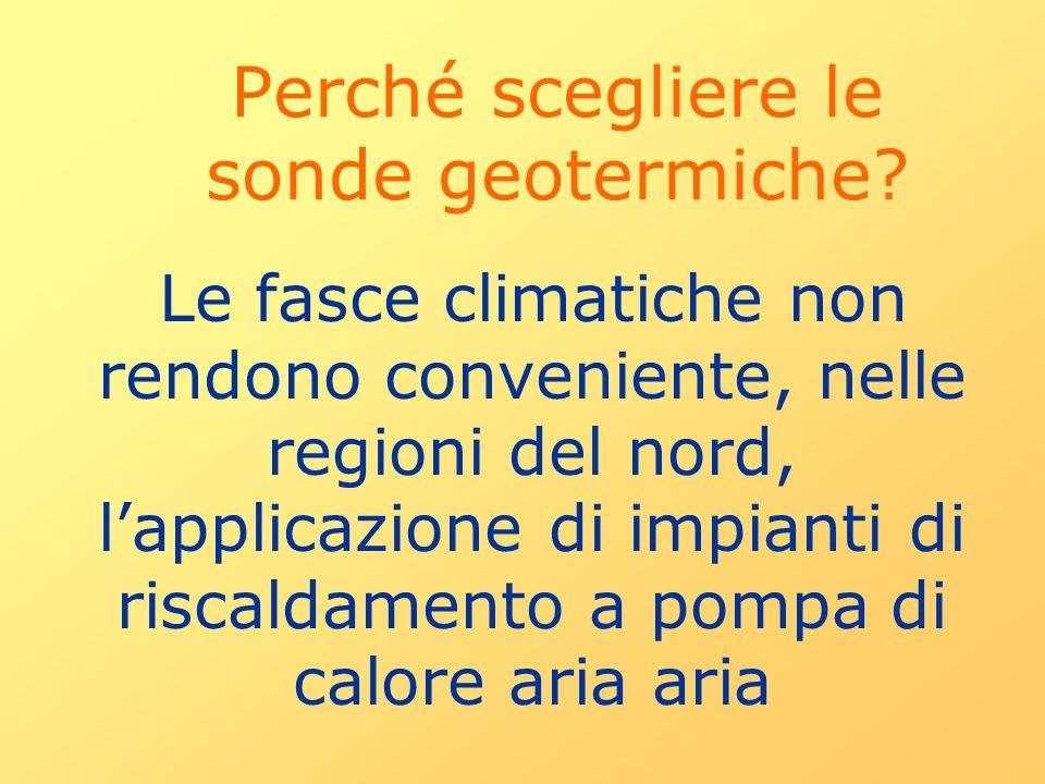 Perché scegliere le sonde geotermiche? Le fasce climatiche non rendono conveniente, nelle regioni del nord, l'applicazione di impianti di riscaldament