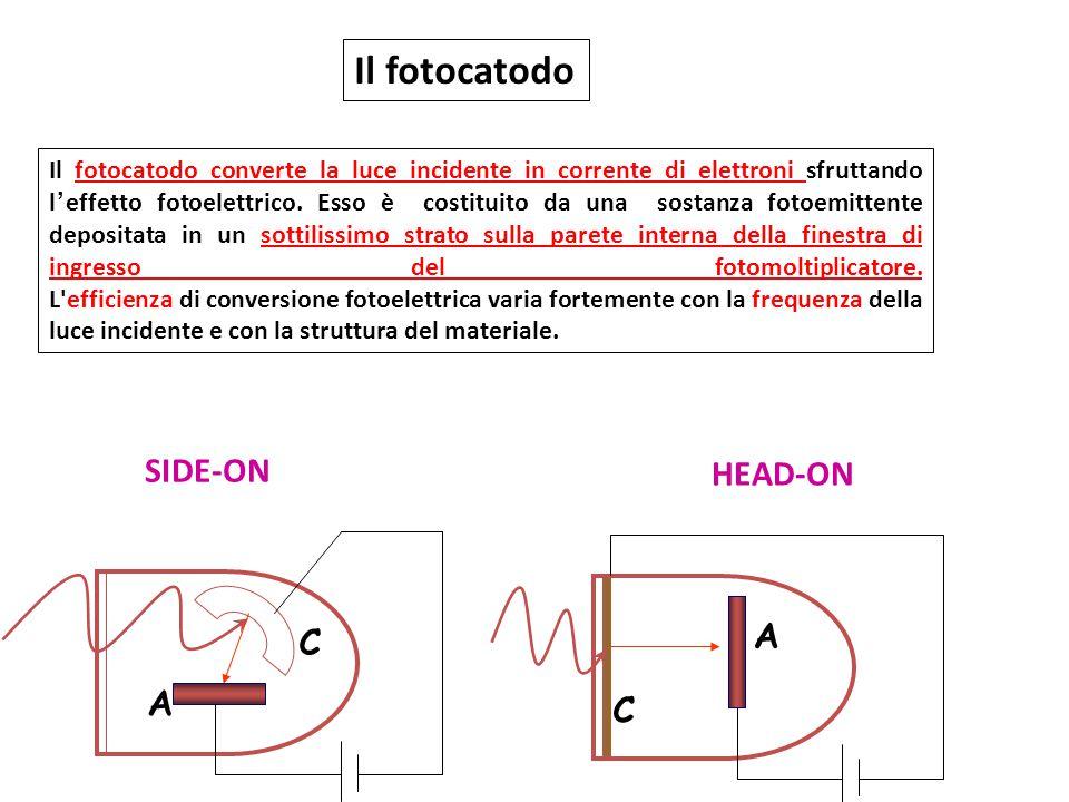 SIDE-ON C A HEAD-ON A C Il fotocatodo Il fotocatodo converte la luce incidente in corrente di elettroni sfruttando l'effetto fotoelettrico. Esso è cos