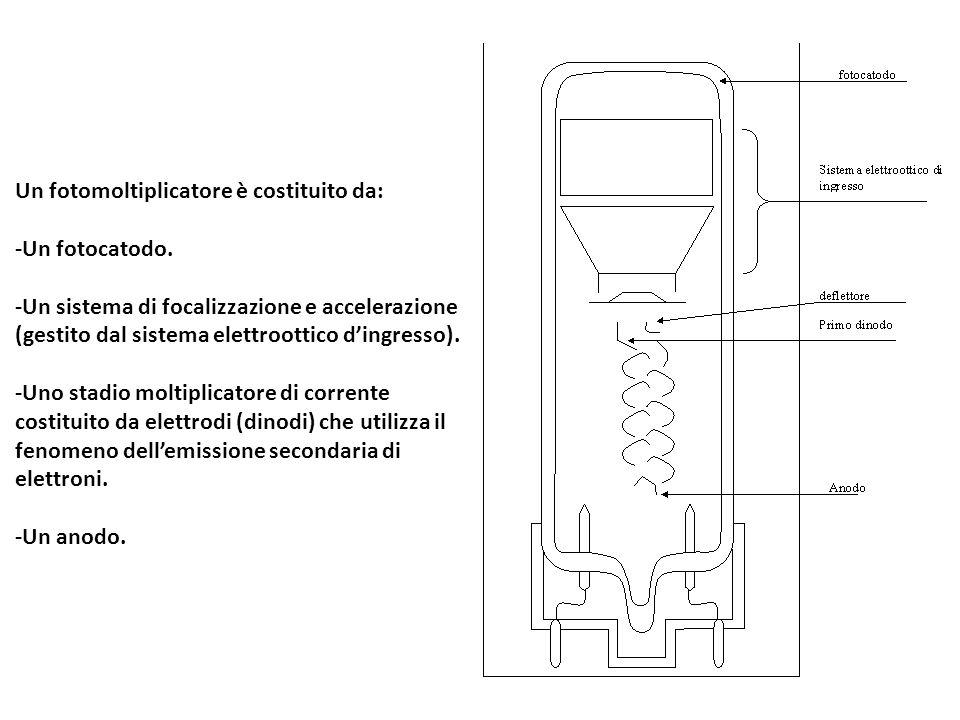 Un fotomoltiplicatore è costituito da: -Un fotocatodo. -Un sistema di focalizzazione e accelerazione (gestito dal sistema elettroottico d'ingresso). -