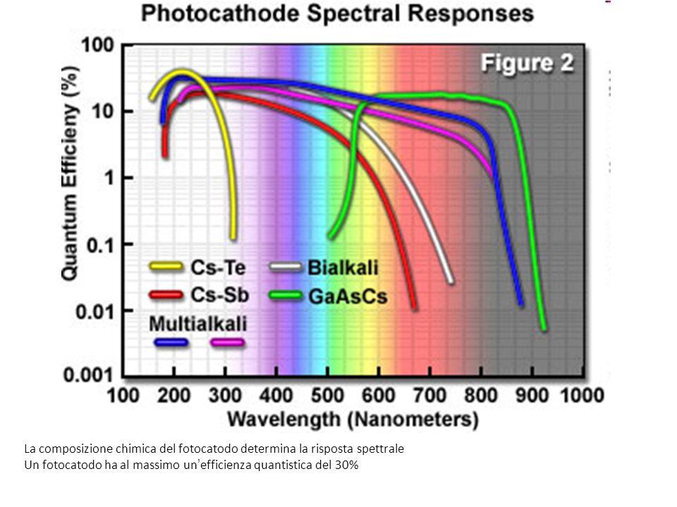 La composizione chimica del fotocatodo determina la risposta spettrale Un fotocatodo ha al massimo un'efficienza quantistica del 30%
