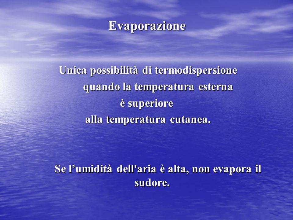 Evaporazione Unica possibilità di termodispersione Unica possibilità di termodispersione quando la temperatura esterna quando la temperatura esterna è