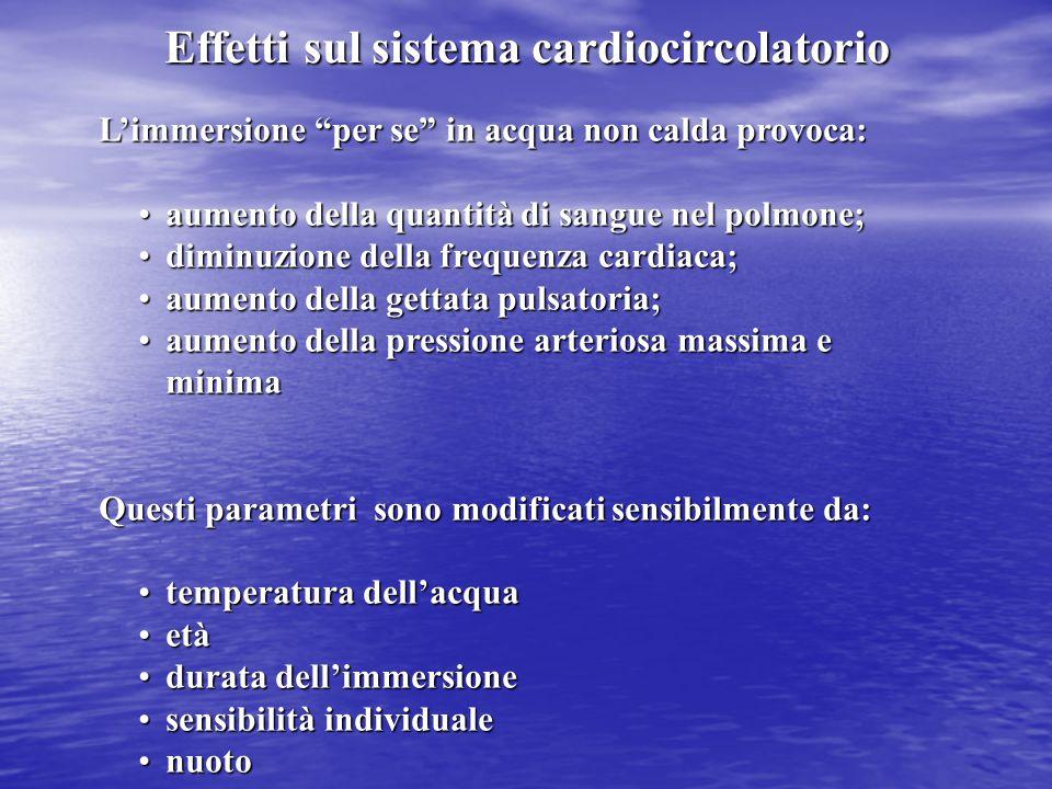 """Effetti sul sistema cardiocircolatorio L'immersione """"per se"""" in acqua non calda provoca: aumento della quantità di sangue nel polmone;aumento della qu"""