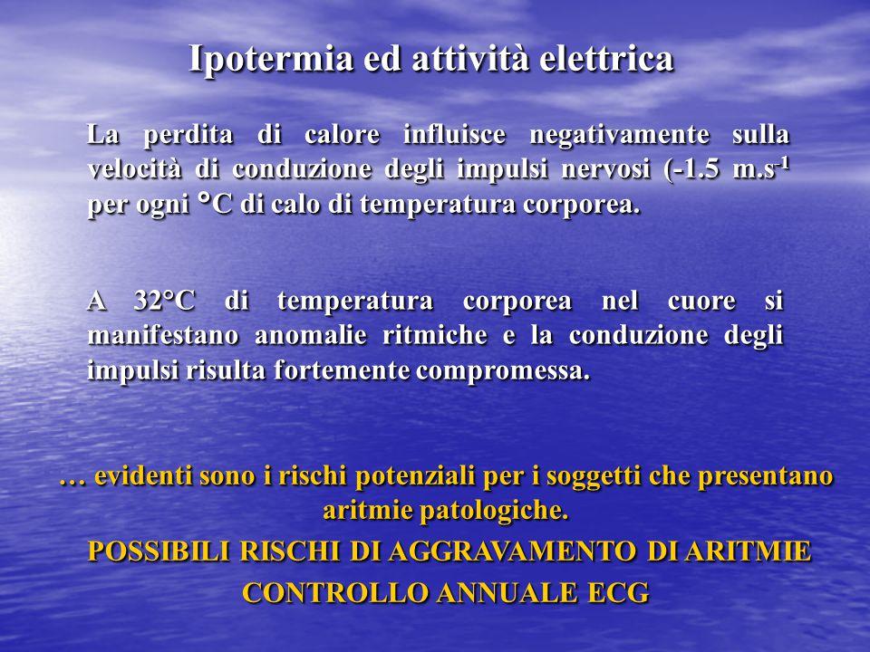 La perdita di calore influisce negativamente sulla velocità di conduzione degli impulsi nervosi (-1.5 m.s -1 per ogni °C di calo di temperatura corpor