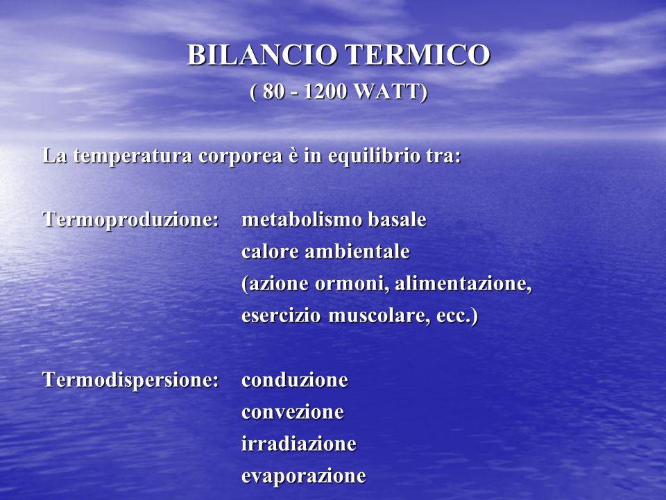 BILANCIO TERMICO ( 80 - 1200 WATT) La temperatura corporea è in equilibrio tra: Termoproduzione: metabolismo basale calore ambientale (azione ormoni,