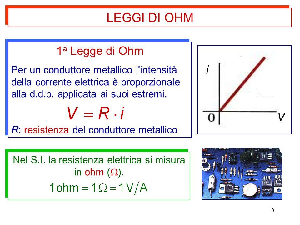 3 1 a Legge di Ohm Per un conduttore metallico l'intensità della corrente elettrica è proporzionale alla d.d.p. applicata ai suoi estremi. R: resisten