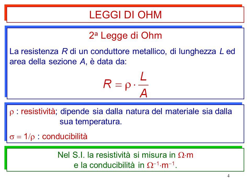 4  : resistività; dipende sia dalla natura del materiale sia dalla sua temperatura.   1  : conducibilità  : resistività; dipende sia dalla natur