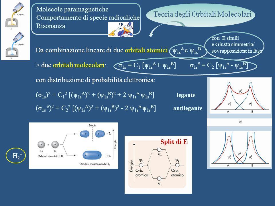 Molecole paramagnetiche Comportamento di specie radicaliche Risonanza Da combinazione lineare di due orbitali atomici ψ 1s A e ψ 1s B > due orbitali m