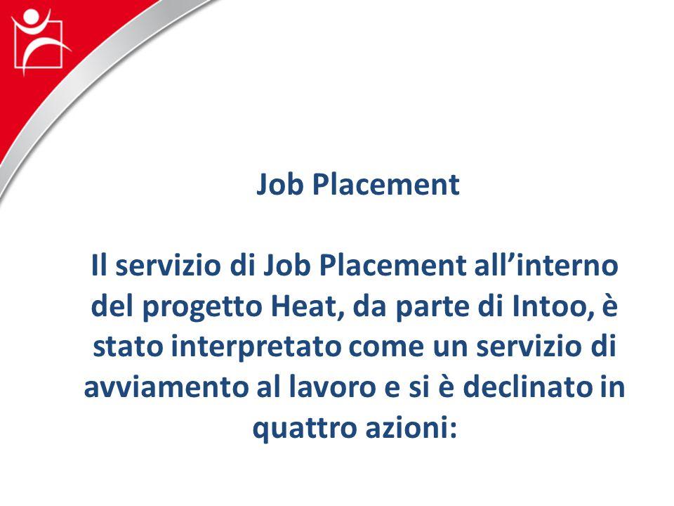 Job Placement Il servizio di Job Placement all'interno del progetto Heat, da parte di Intoo, è stato interpretato come un servizio di avviamento al lavoro e si è declinato in quattro azioni: