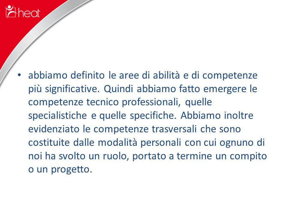 abbiamo definito le aree di abilità e di competenze più significative.