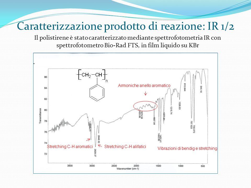 polistirene Caratterizzazione prodotto di reazione: IR 1/2 Stretching C-H alifaticiStretching C-H aromatici Vibrazioni di bendig e stretching Armoniche anello aromatico Il polistirene è stato caratterizzato mediante spettrofotometria IR con spettrofotometro Bio-Rad FTS, in film liquido su KBr