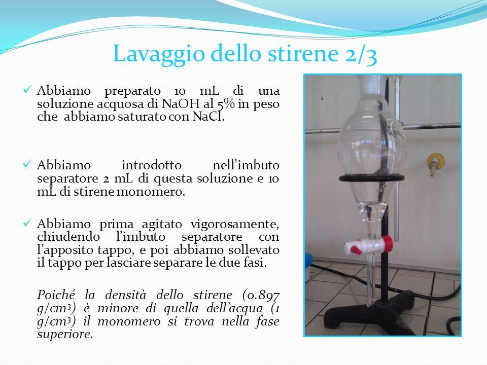 Abbiamo preparato 10 mL di una soluzione acquosa di NaOH al 5% in peso che abbiamo saturato con NaCl.