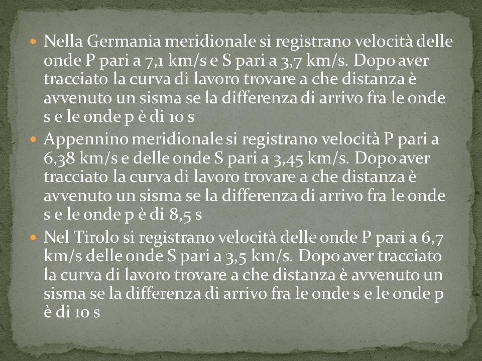 Nella Germania meridionale si registrano velocità delle onde P pari a 7,1 km/s e S pari a 3,7 km/s.
