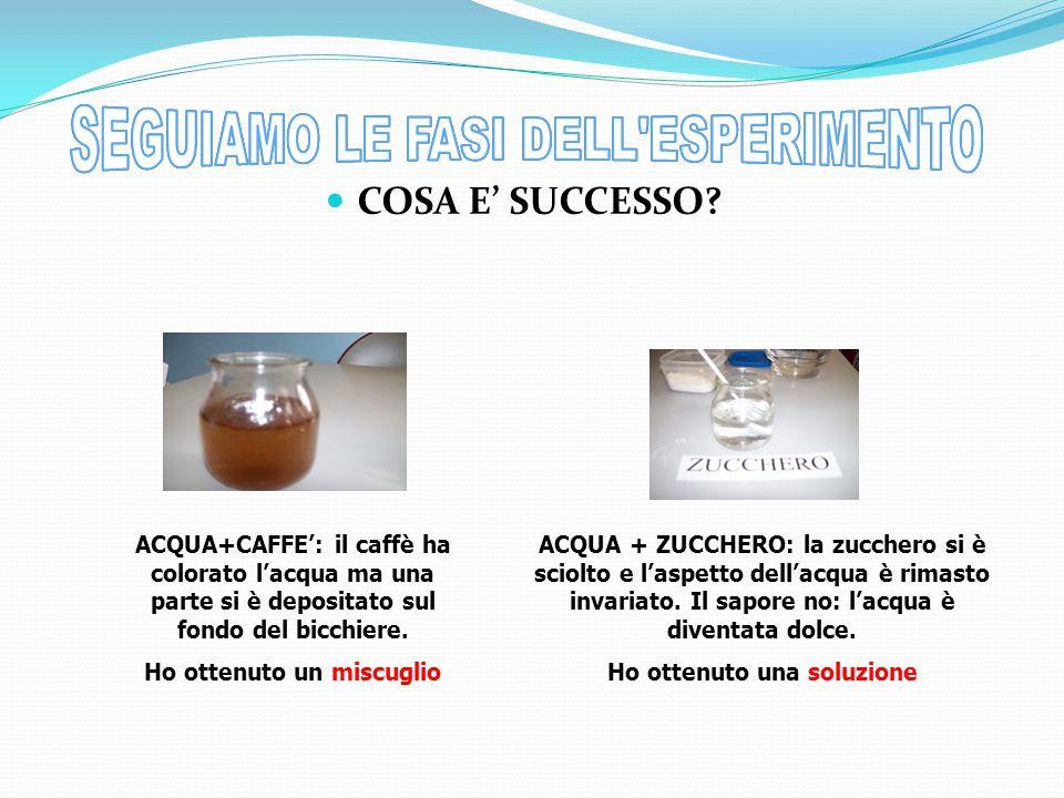 ACQUA+CAFFE': il caffè ha colorato l'acqua ma una parte si è depositato sul fondo del bicchiere.