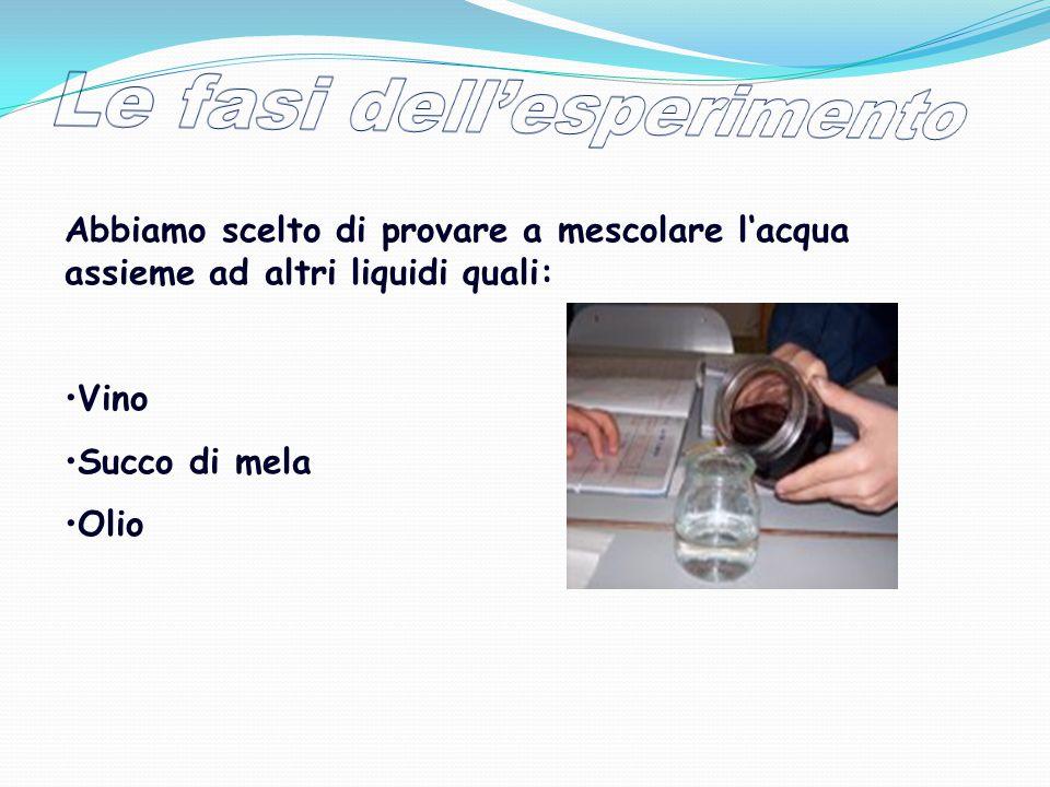 L'esperimento consiste nel mescolare l'acqua con i diversi liquidi e vedere che cosa succede L'acqua ha la capacità di sciogliere molte sostanze, si dice quindi che è un ottimo SOLVENTE.