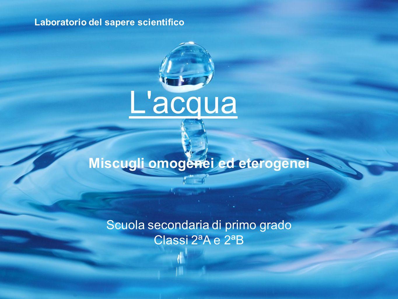 L'acqua Miscugli omogenei ed eterogenei Scuola secondaria di primo grado Classi 2ªA e 2ªB Laboratorio del sapere scientifico