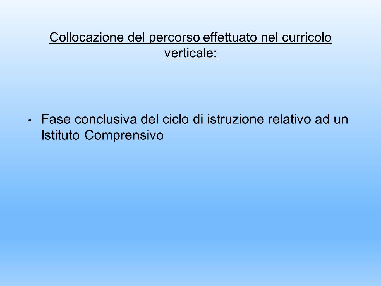 Collocazione del percorso effettuato nel curricolo verticale: Fase conclusiva del ciclo di istruzione relativo ad un Istituto Comprensivo
