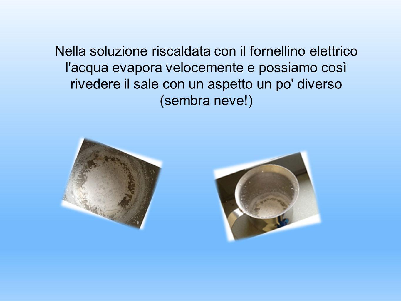Nella soluzione riscaldata con il fornellino elettrico l'acqua evapora velocemente e possiamo così rivedere il sale con un aspetto un po' diverso (sem