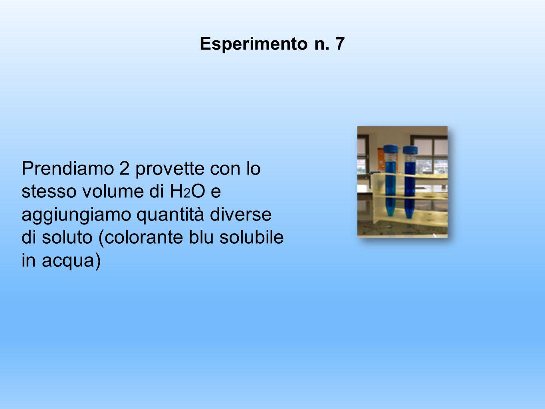 Prendiamo 2 provette con lo stesso volume di H 2 O e aggiungiamo quantità diverse di soluto (colorante blu solubile in acqua) Esperimento n. 7