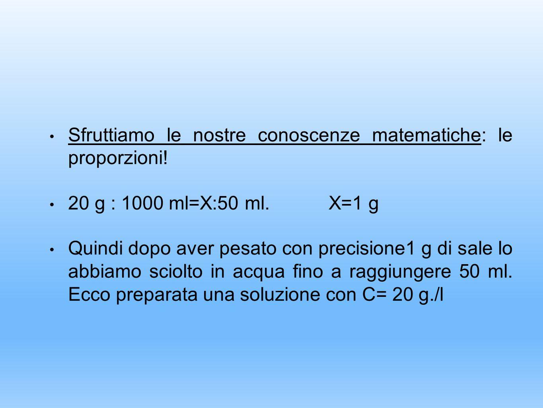 Sfruttiamo le nostre conoscenze matematiche: le proporzioni! 20 g : 1000 ml=X:50 ml. X=1 g Quindi dopo aver pesato con precisione1 g di sale lo abbiam
