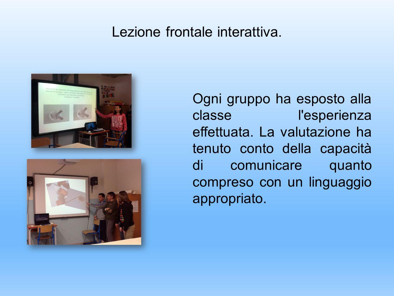 Lezione frontale interattiva. Ogni gruppo ha esposto alla classe l'esperienza effettuata. La valutazione ha tenuto conto della capacità di comunicare