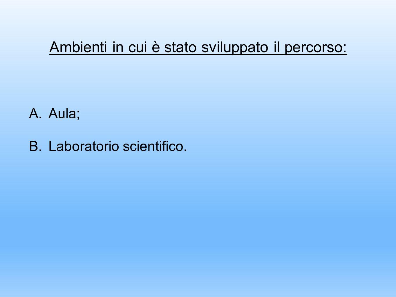 Ambienti in cui è stato sviluppato il percorso: A.Aula; B.Laboratorio scientifico.
