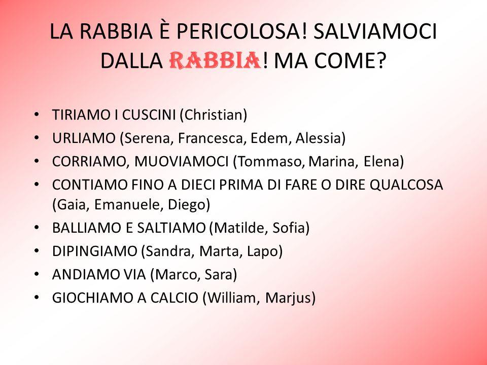 LA RABBIA È PERICOLOSA! SALVIAMOCI DALLA RABBIA ! MA COME? TIRIAMO I CUSCINI (Christian) URLIAMO (Serena, Francesca, Edem, Alessia) CORRIAMO, MUOVIAMO