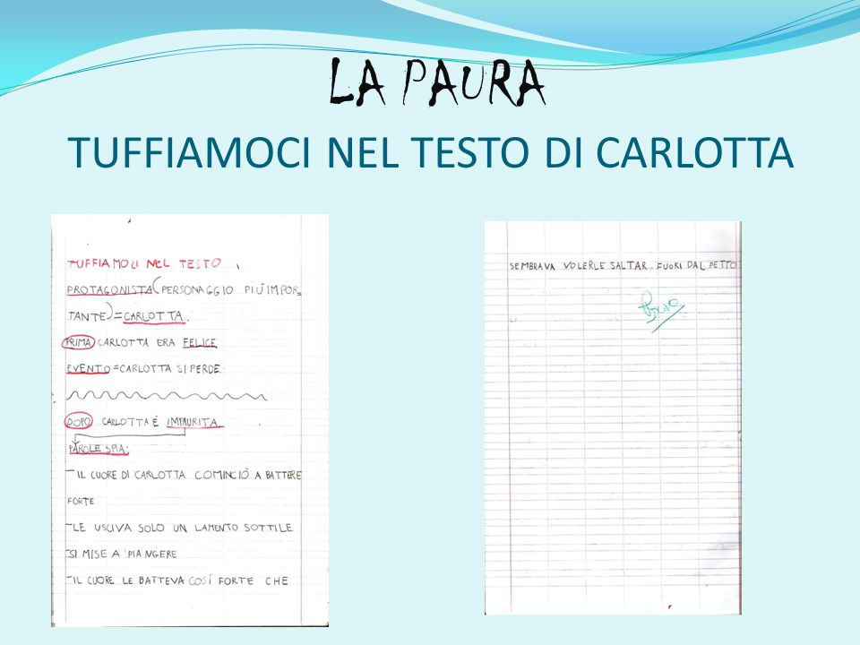 LA PAURA TUFFIAMOCI NEL TESTO DI CARLOTTA