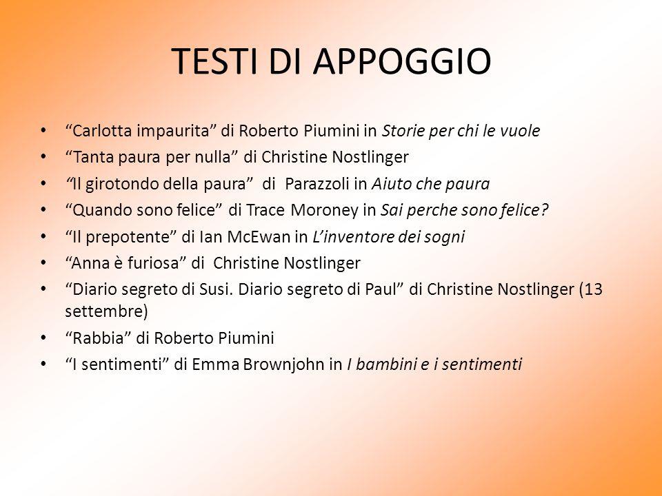 """TESTI DI APPOGGIO """"Carlotta impaurita"""" di Roberto Piumini in Storie per chi le vuole """"Tanta paura per nulla"""" di Christine Nostlinger """"Il girotondo del"""