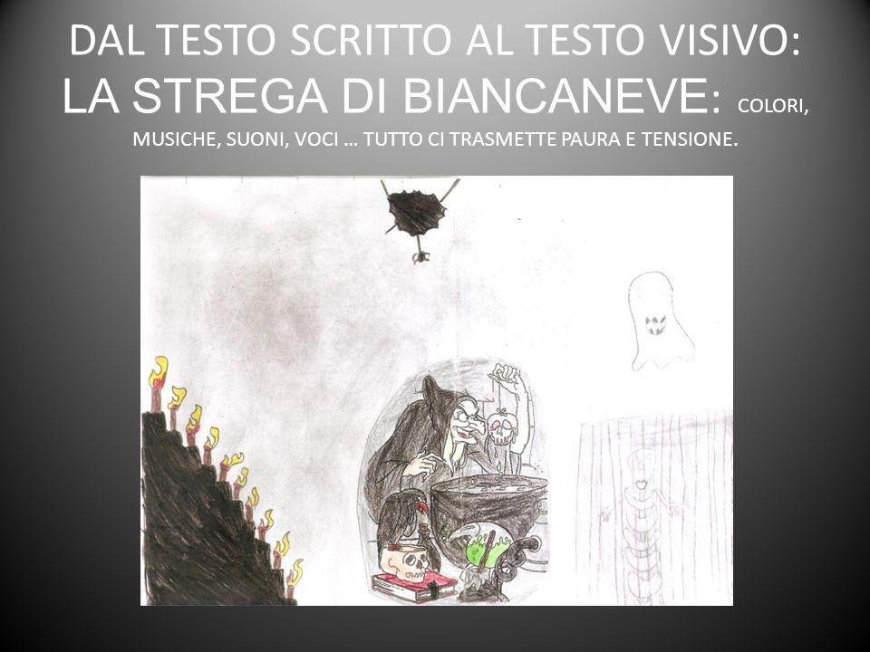 DAL TESTO SCRITTO AL TESTO VISIVO: LA STREGA DI BIANCANEVE : COLORI, MUSICHE, SUONI, VOCI … TUTTO CI TRASMETTE PAURA E TENSIONE.