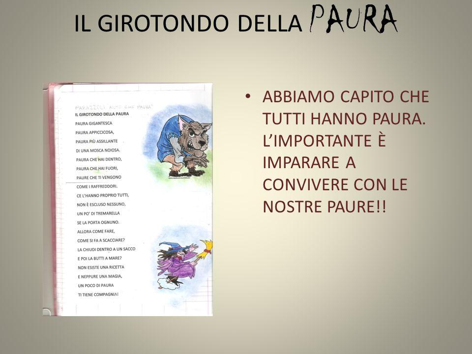 IL GIROTONDO DELLA PAURA ABBIAMO CAPITO CHE TUTTI HANNO PAURA. L'IMPORTANTE È IMPARARE A CONVIVERE CON LE NOSTRE PAURE!!