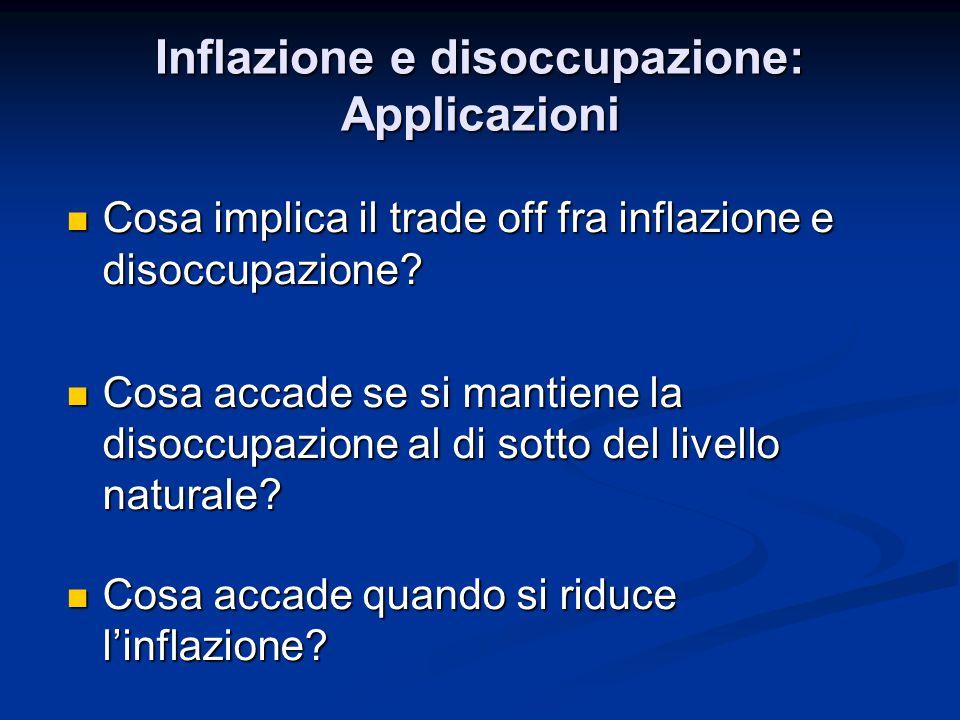 Cosa implica il trade off fra inflazione e disoccupazione? Cosa implica il trade off fra inflazione e disoccupazione? Cosa accade se si mantiene la di
