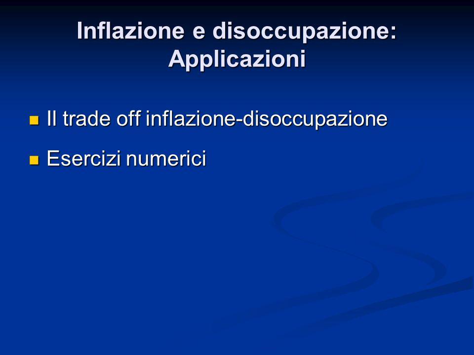 Il trade off inflazione-disoccupazione Il trade off inflazione-disoccupazione Esercizi numerici Esercizi numerici
