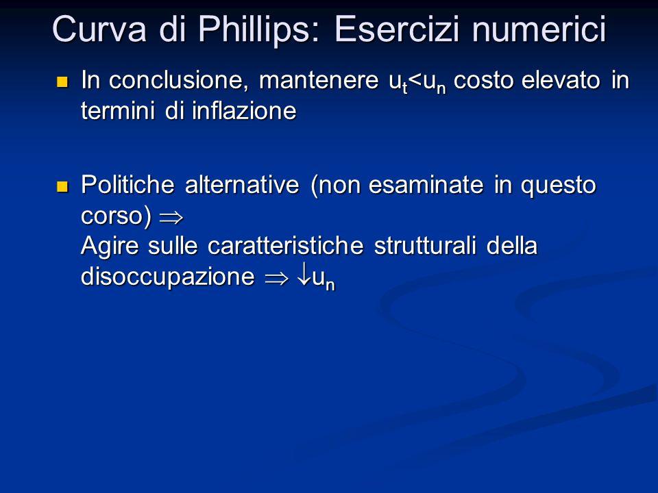 Curva di Phillips: Esercizi numerici In conclusione, mantenere u t <u n costo elevato in termini di inflazione In conclusione, mantenere u t <u n cost