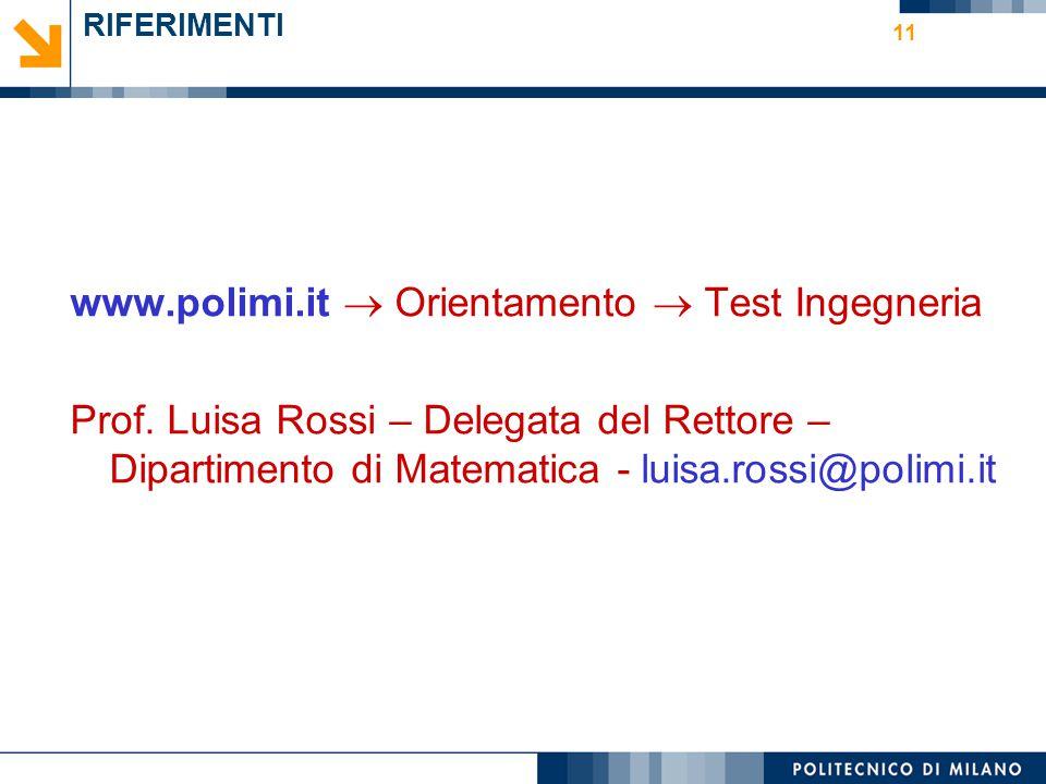 11 RIFERIMENTI www.polimi.it  Orientamento  Test Ingegneria Prof. Luisa Rossi – Delegata del Rettore – Dipartimento di Matematica - luisa.rossi@poli