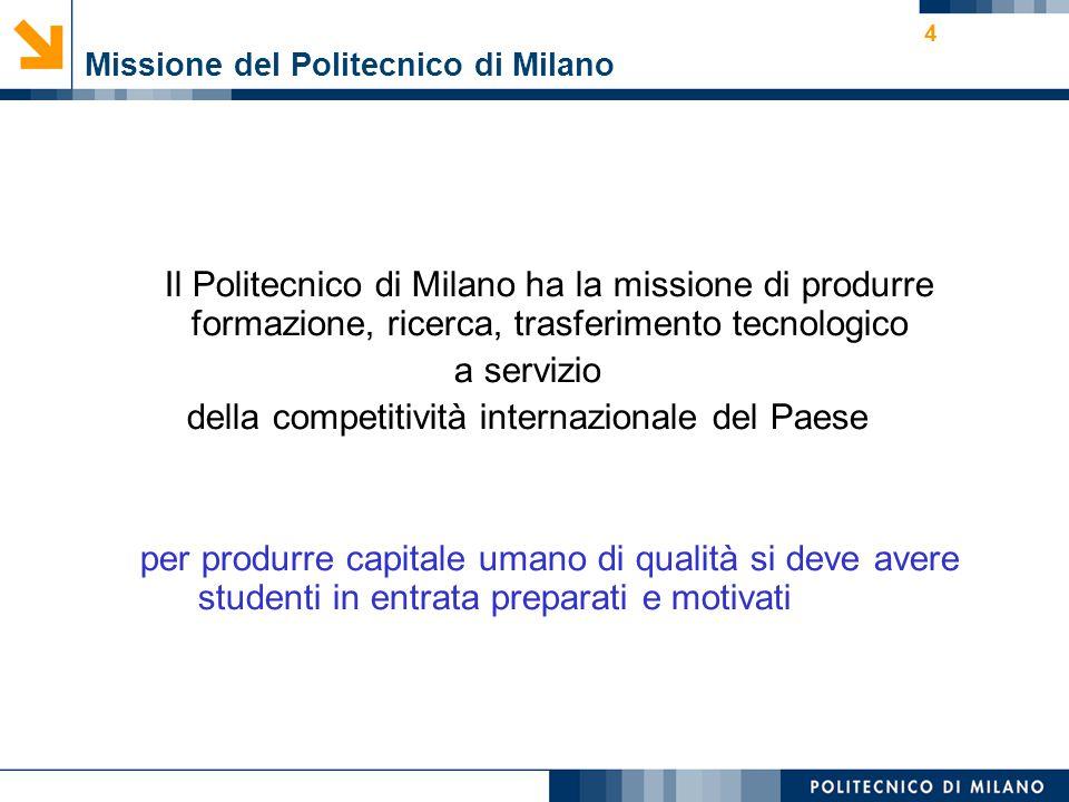4 Missione del Politecnico di Milano Il Politecnico di Milano ha la missione di produrre formazione, ricerca, trasferimento tecnologico a servizio del