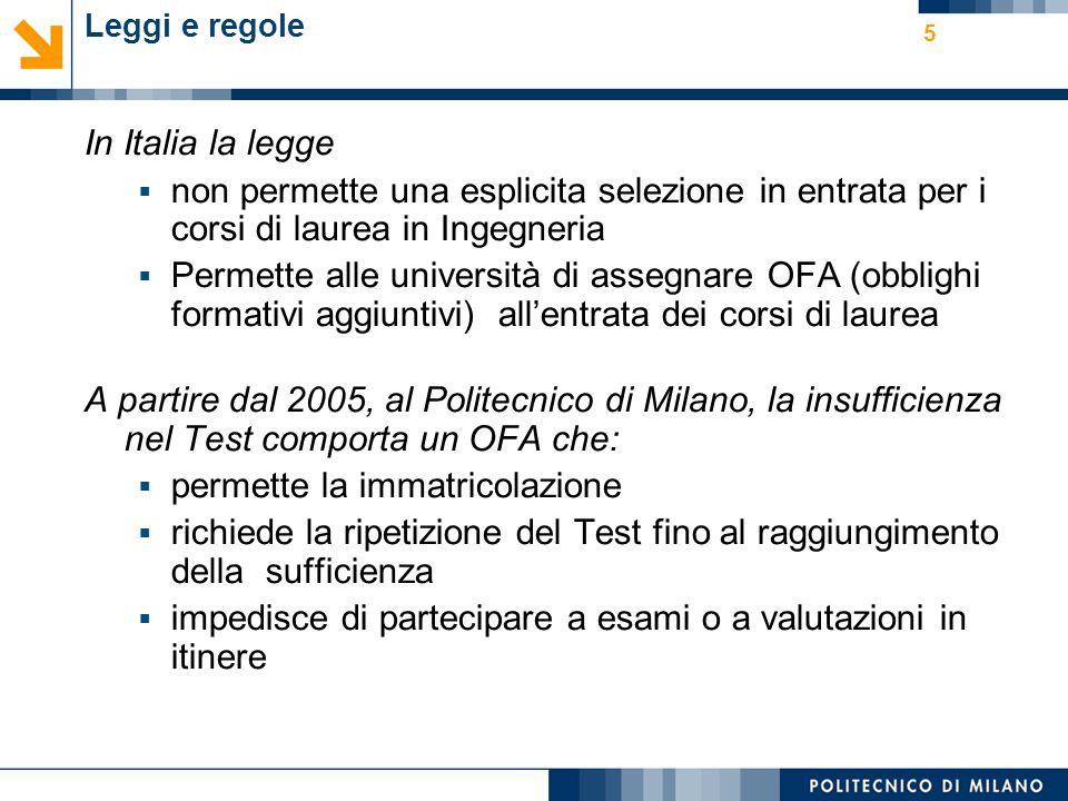 5 Leggi e regole In Italia la legge  non permette una esplicita selezione in entrata per i corsi di laurea in Ingegneria  Permette alle università d