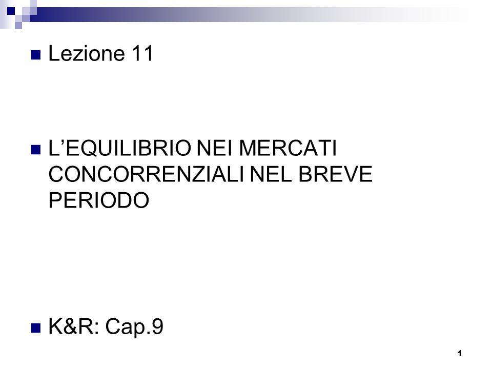 1 Lezione 11 L'EQUILIBRIO NEI MERCATI CONCORRENZIALI NEL BREVE PERIODO K&R: Cap.9