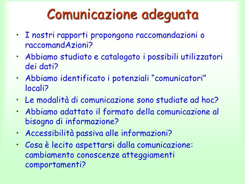 Comunicazione adeguata I nostri rapporti propongono raccomandazioni o raccomandAzioni? Abbiamo studiato e catalogato i possibili utilizzatori dei dati