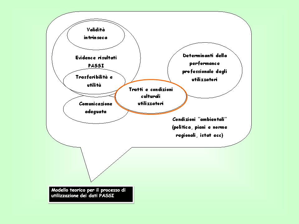 Modello teorico per il processo di utilizzazione dei dati PASSI
