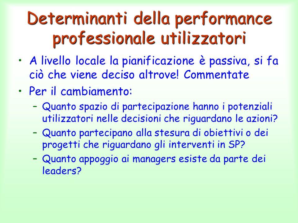 Determinanti della performance professionale utilizzatori A livello locale la pianificazione è passiva, si fa ciò che viene deciso altrove! Commentate