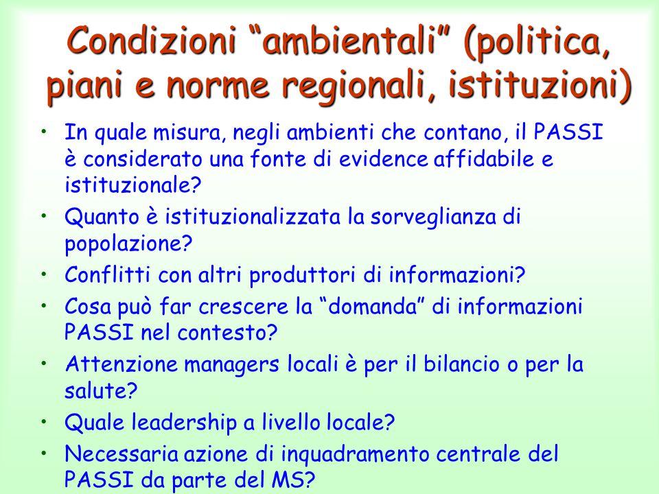 """Condizioni """"ambientali"""" (politica, piani e norme regionali, istituzioni) In quale misura, negli ambienti che contano, il PASSI è considerato una fonte"""