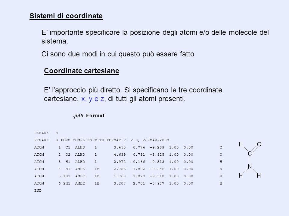 Coordinate cartesiane E' importante specificare la posizione degli atomi e/o delle molecole del sistema. Ci sono due modi in cui questo può essere fat