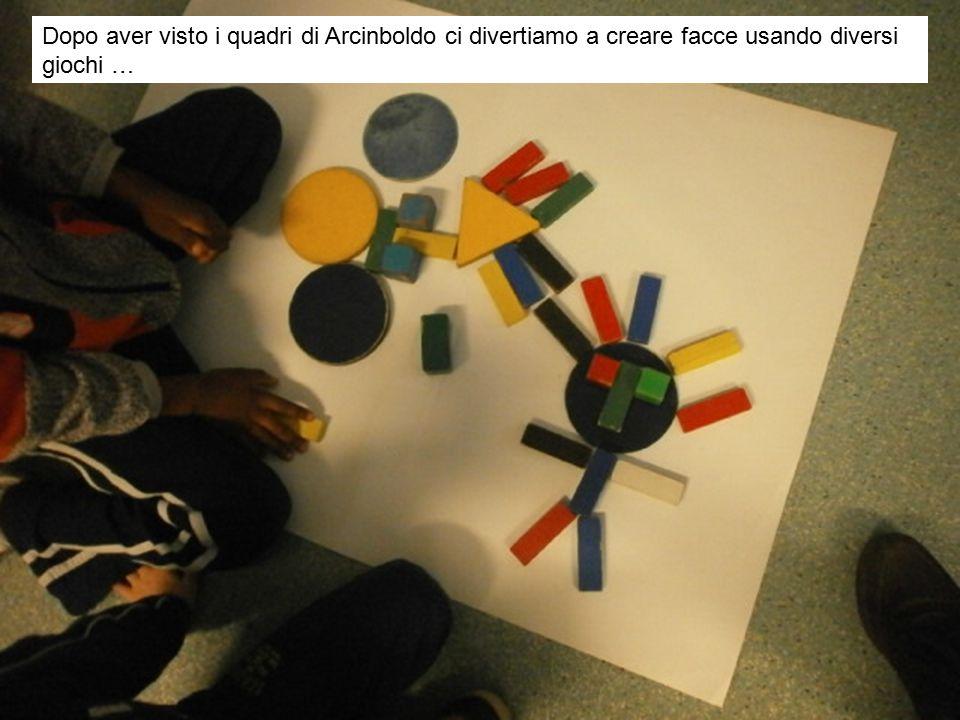 Dopo aver visto i quadri di Arcinboldo ci divertiamo a creare facce usando diversi giochi …