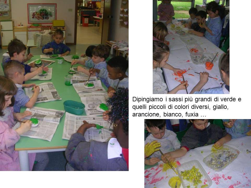 Dipingiamo i sassi più grandi di verde e quelli piccoli di colori diversi, giallo, arancione, bianco, fuxia …
