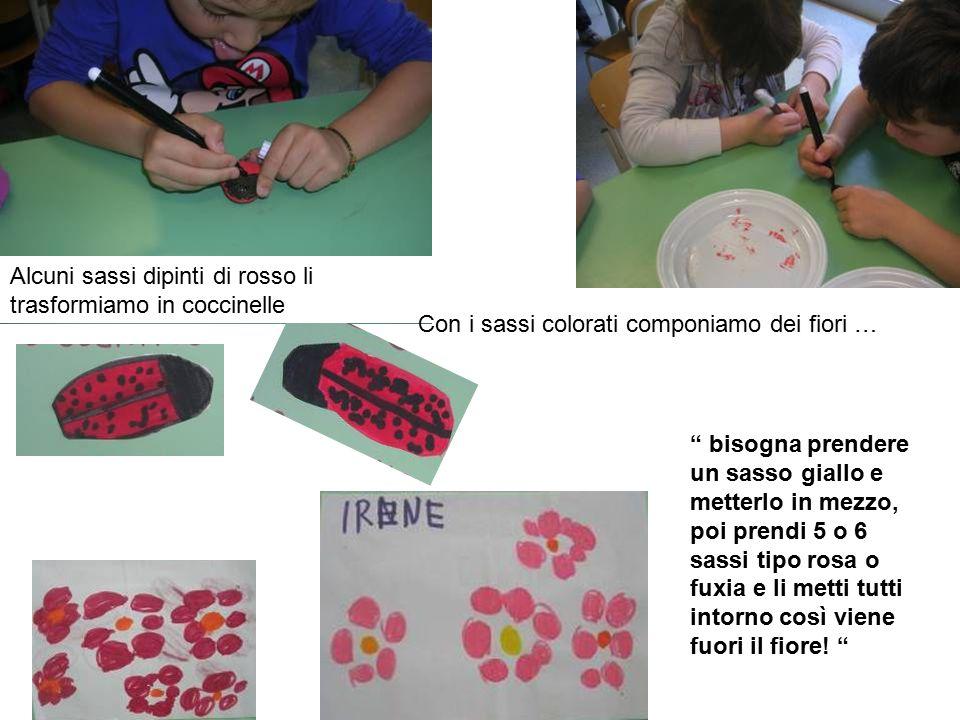 """Alcuni sassi dipinti di rosso li trasformiamo in coccinelle Con i sassi colorati componiamo dei fiori … """" bisogna prendere un sasso giallo e metterlo"""