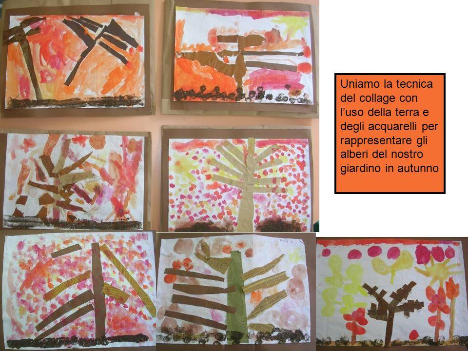 Uniamo la tecnica del collage con l'uso della terra e degli acquarelli per rappresentare gli alberi del nostro giardino in autunno