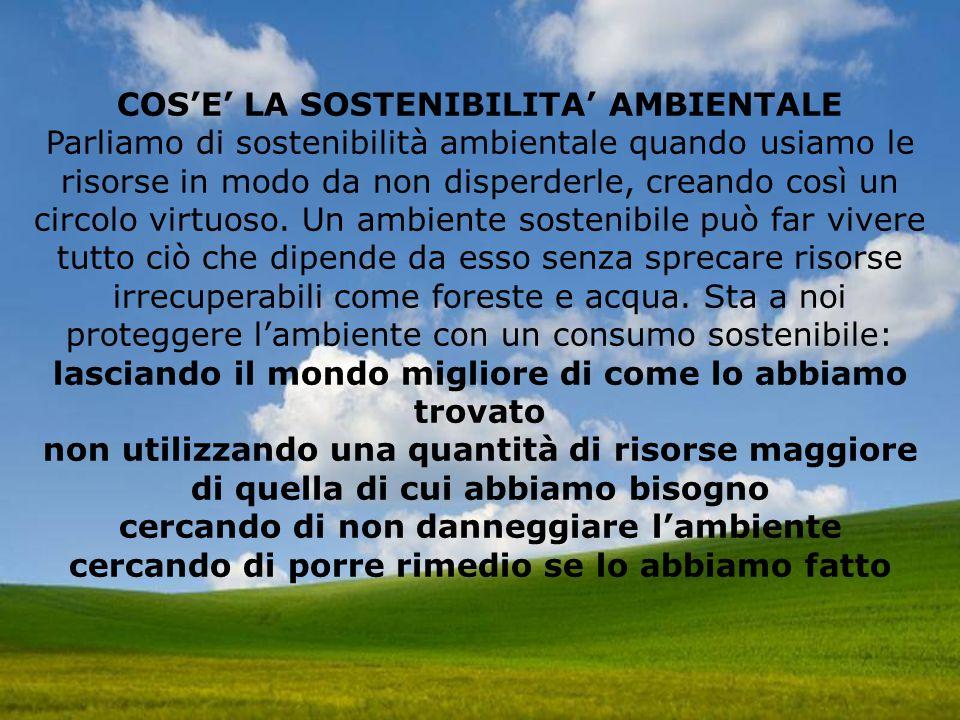 COS'E' LA SOSTENIBILITA' AMBIENTALE Parliamo di sostenibilità ambientale quando usiamo le risorse in modo da non disperderle, creando così un circolo virtuoso.