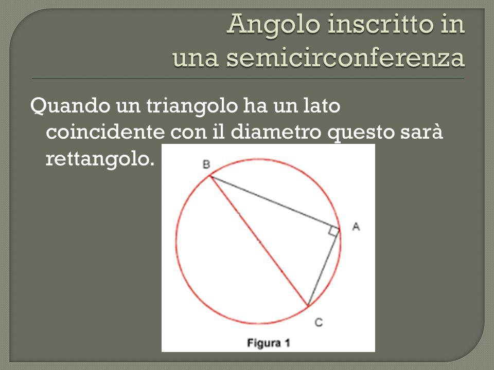 Quando un triangolo ha un lato coincidente con il diametro questo sarà rettangolo.