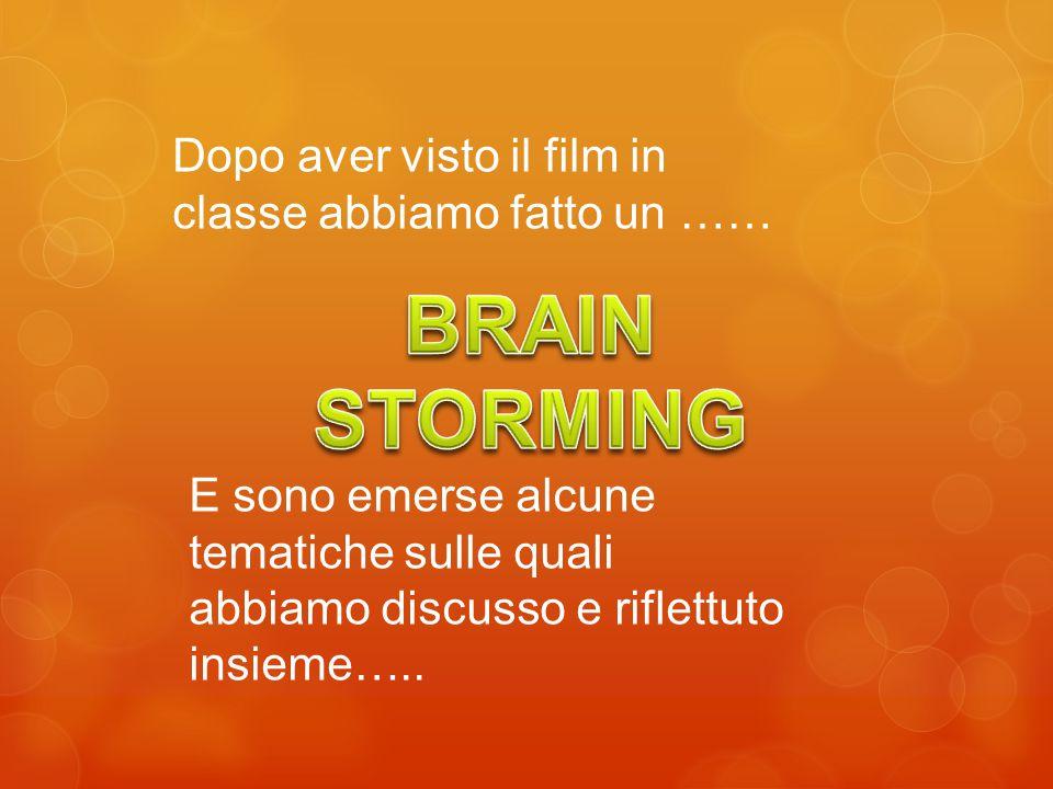 Dopo aver visto il film in classe abbiamo fatto un …… E sono emerse alcune tematiche sulle quali abbiamo discusso e riflettuto insieme…..
